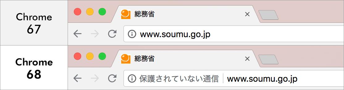Google Chrome 68における非SSLページ警告内容の変更