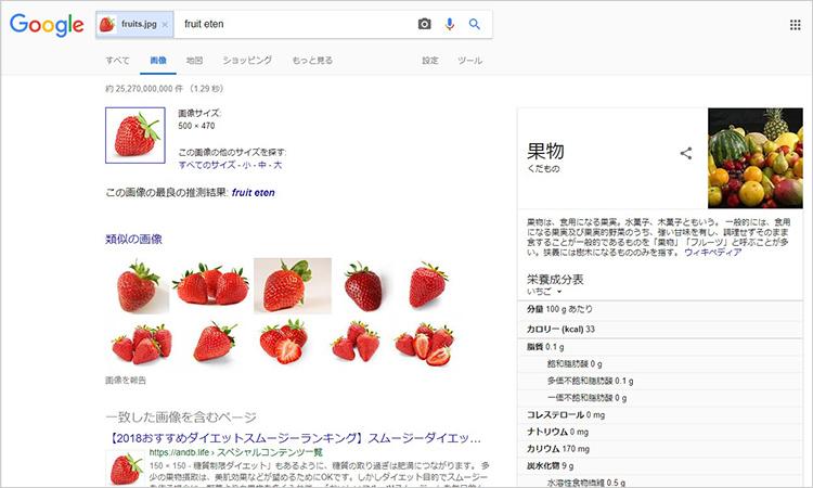 もし、自分がこの果物を「苺」と知らなくても、画像検索が「これは苺ではないですか?」と教えてくれたり、類似したいろいろな画像からイメージを膨らますことができ
