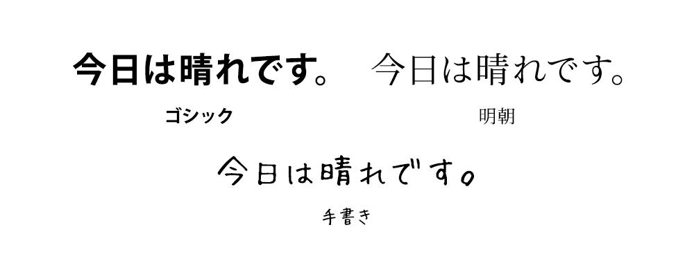 字の種類で印象は異なる
